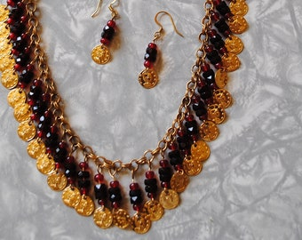 Red coin necklace and earrings* (#3)