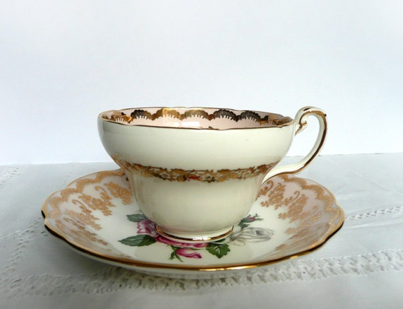 Vintage tea set, Foley bone china tea cup and saucer with pink roses and decorative gold detailing