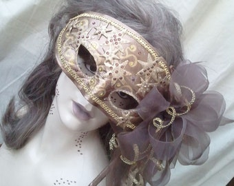 Mask Mardi Gra VENETIAN Masquerade Carnevale Halloween Renaissance Venice Theatre Carnival PARTY Whimsical Wedding Costume OOAK Handle Brown