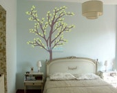 Tree decal nursery wall decal baby wall decal children wall decal flying birds decal room decal-Tree with waving leaves
