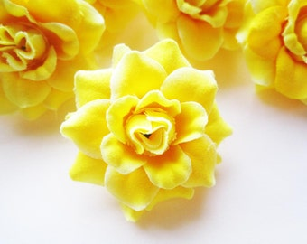 12 Yellow mini Roses Heads - Artificial Silk Flower - 1.75 inches - Wholesale Lot - for Wedding Work, Make Hair clips, headbands, hats