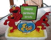 Elmo Birthday Centerpiece, Set of 4 Picks - Happy Birthday Centerpiece -  Sesame Street Centerpiece