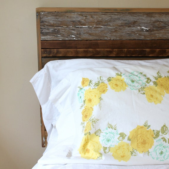 Vintage Standard Pillowcase - White with Yellow and Mint Floral Pattern