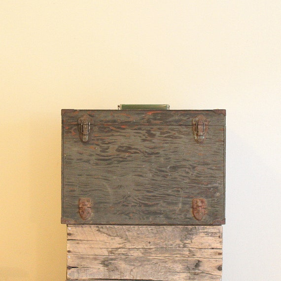 Vintage Tackle Box - Green Wooden