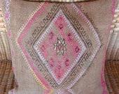 """MODERN Bohemian Home Decor Turkish Kilim Pillow Cover 17""""x17"""",Tribal Pillow,Vintage Kilim Pillow,Kilim Throw Pillow."""