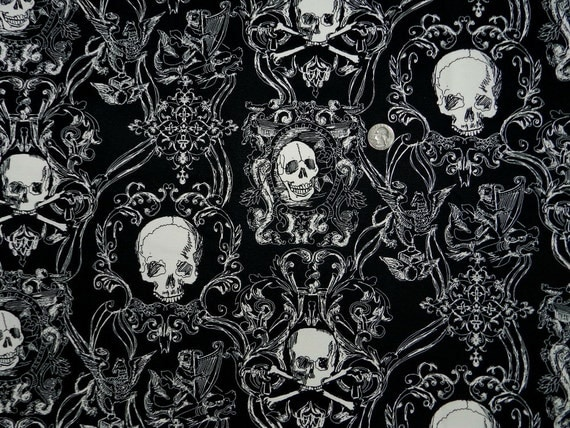 Black and Cream Skullduggery on Oxford CANVAS - Fabric By The Yard - H