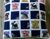 "Kawaii Kimono print cushion pillow in blue tones, Japanese furoshiki patchwork print, hand sewn 50cm 20"""
