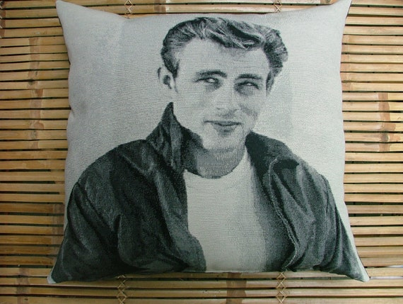 """JAMES DEAN Photo image cushion pillow, 50's actor. Hand sewn in quality heavy cotton, glamour Hollywood screen idol. 50cm or 20"""" sq."""