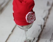 Red Cotton upcycled Newborn Prop Hat