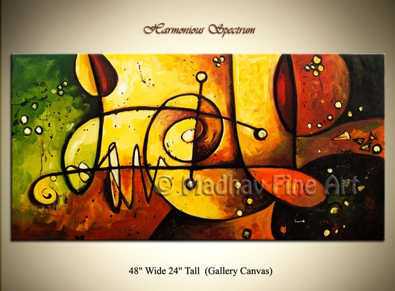 Abstract Original PAINTING Modern Contemporary Art on Large canvas by Madhav - Size: 48'' x 24'' (122cm x 61cm)