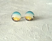 Sunset Earrings-11mm small round stud post earrings-art resin jewelry