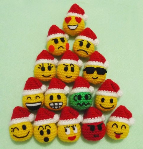 Crochet Amigurumi Smiley Faces : Mix lot 25pcs Crochet Emoticons Balls on by DarmianiDesign ...