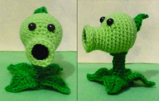 Crochet Pea shooter amigurumi Plants vs zombies by DarmianiDesign