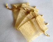 25 Gold Organza Bags 3x4 inch
