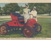 CADILLAC--1903, the Henry FORD MUSEUM and Greenfield Village, Dearborn, Michigan, Vintage Linen Postcard, Stamped and Used, 1950s