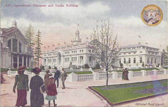 AGRICULTURAL, European and ALASKA Building, Alaska YUKON Pacific Exposition 1909, Official Postcard, Vintage, Unused, Portland Postcard Co.
