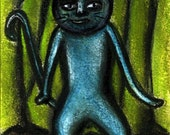 Original Theatre Cat Acrylic and Pastel Painting on Paper