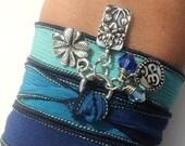 Lotus Silk Wrap Bracelet Om Jewelry Yoga Namaste Mother Nature Blue Anklet Necklace Earthy Unique Gift Under 50 Item S89
