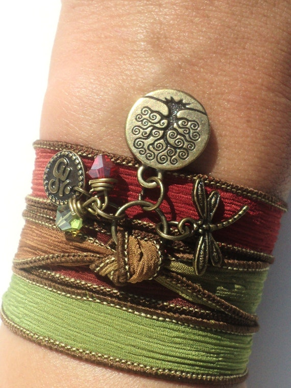 Silk Wrap Bracelet, Yoga, Jewelry, Tree of Life, Dragonfly, Om, Namaste, Bohemian Jewelry, Autumn, Fall, Fall Fashion, Unique Gift Under 50