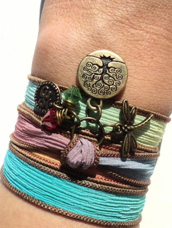 Silk Wrap Bracelet, Dragonfly Bracelet, GIFTS for Her, Wrap Bracelet, Graduation Gift, Teacher Gift, Bracciale, Yoga, Yoga Jewelry, Boho