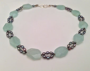 CHALCEDONY, PEARL & SWAROVSKI Necklace - Natural Gems - Green Chalcedony - Freshwater Pearls Swarovski Crystals - Sterling  Silver Clasp