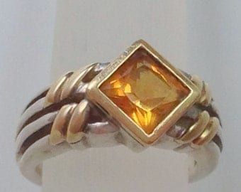 18k & STERLING CITRINE RING - Fully Hallmarked/Stamped Solid Yellow Gold/Solid Fine Silver - Natural High Quality Citrine Gemstone