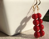 Red Fossil Stone Beaded Earrings