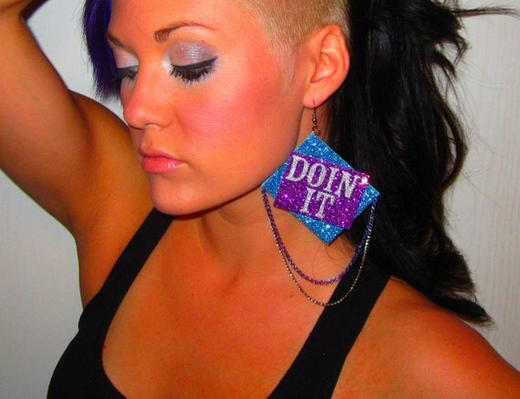 Big Bright Square Blue, Purple, & Sliver Sparkle Hip Hop Inspired DOIN IT Earring with Multi Colored Metal Drape Chains Paired with a Stud