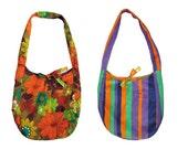 SALE -30%!!! Large reversible shoulder bag. Hobo bag with vintage floral print on one side, striped corduroy on the other side. Upcycled.