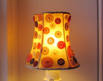 Small lampshade decorated with colourful buttons, upcycled recycled repurposed, yellow red orange, OOAK gift, hygge style home decoration.
