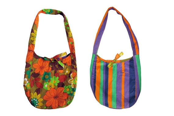 SALE !!! Large reversible shoulder bag. Hobo bag, vintage floral print, striped corduroy. Upcycled recycled repurposed colorful hippie bag.