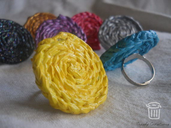 Plastic bag braided rope ring by Trashy Creations on Upcycle fever