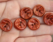 """SALE: 6 red ceramic buttons - 3/4"""" 18mm"""