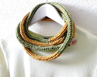 Bold necklace - Earthy knitted color block yellow and green skinny infinity rope necklace scarf