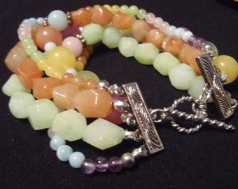 Sterling Silver and Colorful Stone Bracelet