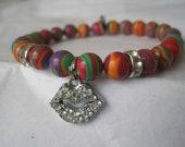 SALE:  Multi Stripe Turquoise Gemstone Stretch Beaded Bracelet w/ Rhinestone Lips Charm