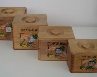 Vintage Hand Painted Wooden Kitchen Canisters, Set of Four
