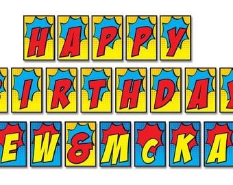 "Superhero Banner • Happy Birthday Name • 7.6875"" x 5.25"" • Printed"
