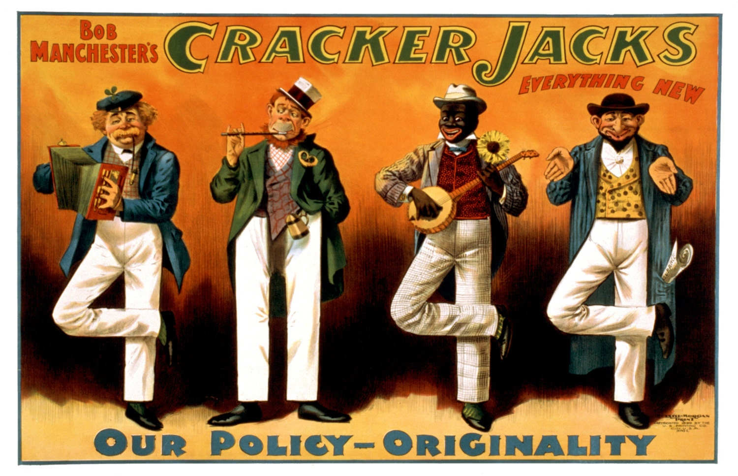 Bob Manchester's, CRACKER JACKS. Everything New. Our policy - Originality, Vaudeville Poster (1899)