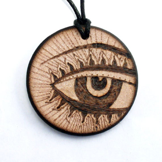 Items similar to third eye necklace wooden necklace wood pendant items similar to third eye necklace wooden necklace wood pendant round wood jewelry natural pyrography art designer handmade artist on etsy mozeypictures Choice Image