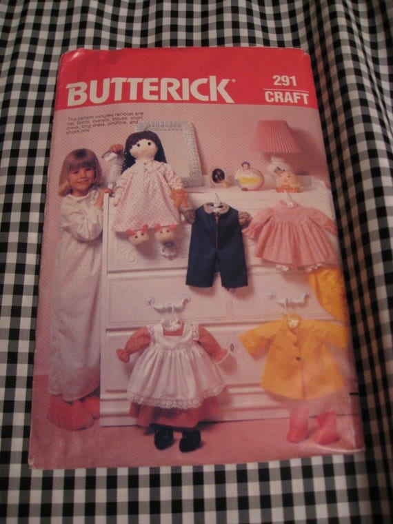 Vintage 1970s Butterick 291 Sewing Pattern DOLL CLOTHES 19""