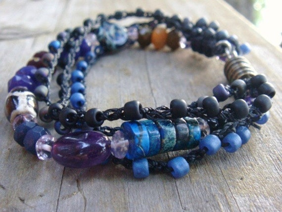 Midnight Blue Beaded Gemstone Bracelet Layered Bracelet