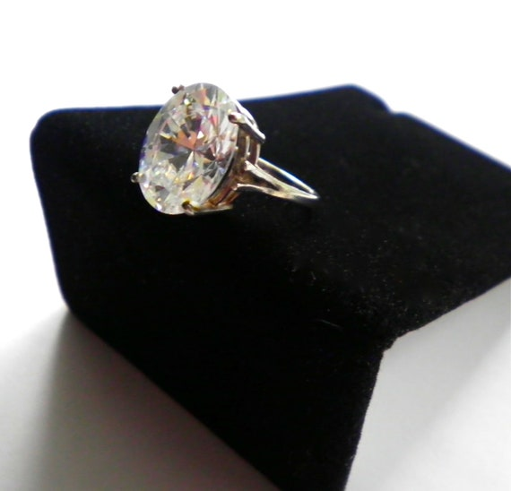 Vintage Sterling Silver and Huge Clear Faceted Crystal Ring Size 7