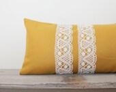 Mustard Yellow Pillow Cover - Solid Yellow Lumbar Pillow Cover - 13x22 Bolster