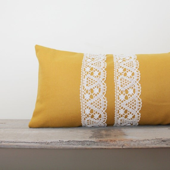 Mustard Yellow Pillow Cover - Solid Yellow Lumbar Pillow Cover - 13x22 Bolster