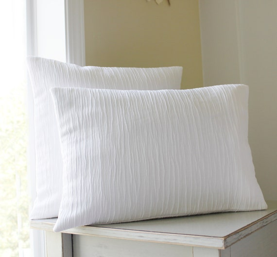 Solid White Pillow Covers - Textured Throw Pillows  - Bright White - Set of 2 - White Throw Pillows