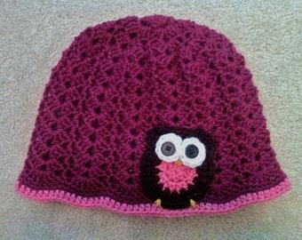 Crochet Owl Adult Hat - Raspberry
