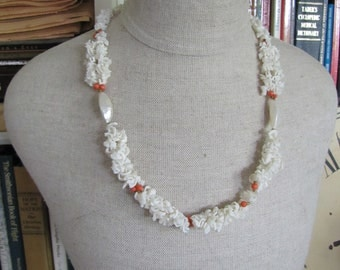 Vintage Sea Shell Necklace Mother Of Pearl Unique Beads Red Coral Spacer Beads - Lovely