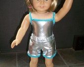 American Girl Doll Clothes--Silver/Turquoise Leotard & Shorts