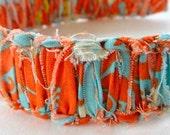 JorJa Band - knotted fabric headband, deep orange, deep sky blue, cream, hint of avocado green
